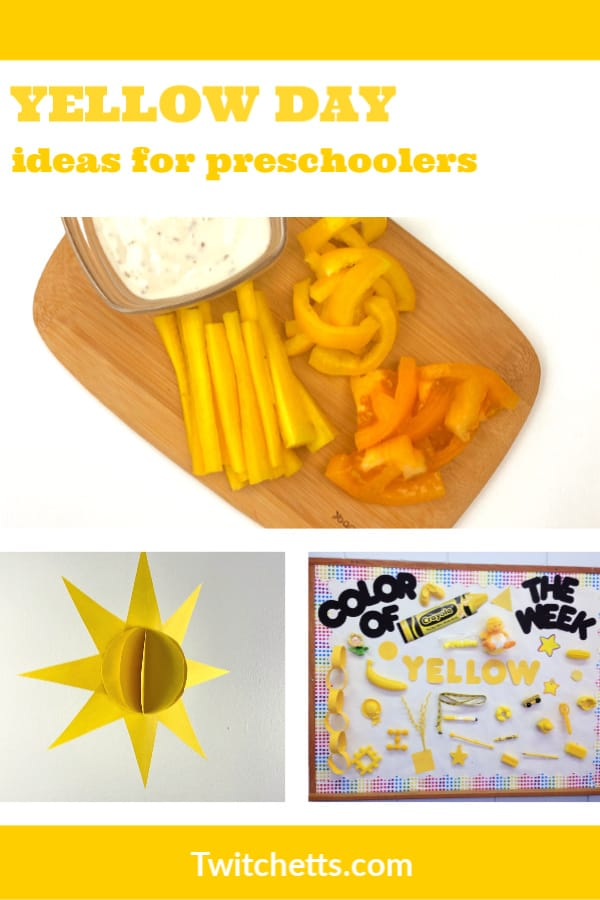 Create memories with a yellow day celebration in preschool. Your kids will love learning about the color yellow while you have a fun celebration. Enjoy yellow foods, decorations, crafts, and more. #twitchetts