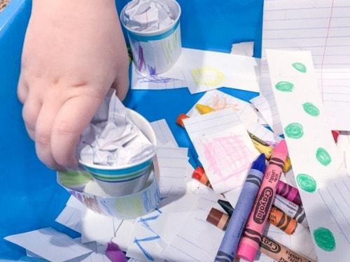 Create with Crayons Easy Sensory Bin Idea