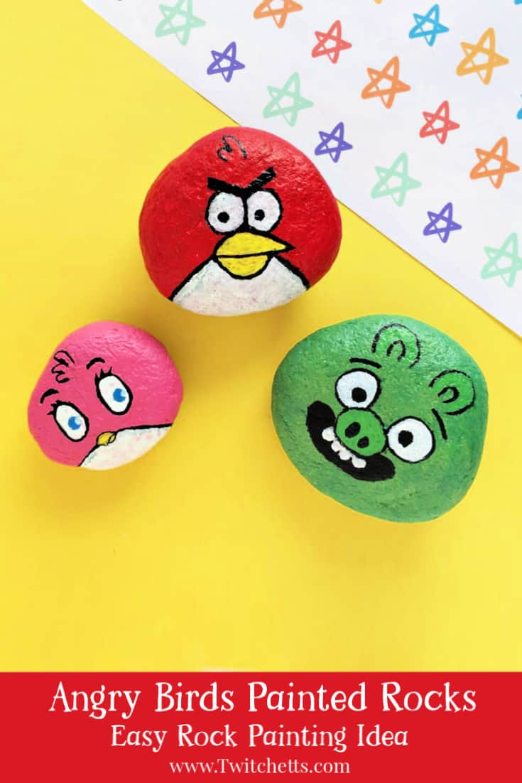 Create these fun and cute Angry Bird painted rocks. The step by step tutorial will show you how easy it is to make this rock painting idea! #twitchetts