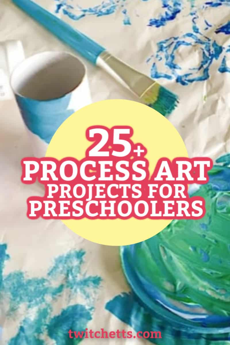 These easy process art ideas for preschoolers will spark the creativity in your little one. Let your kids experiment and learn with these fun art projects. #twitchetts