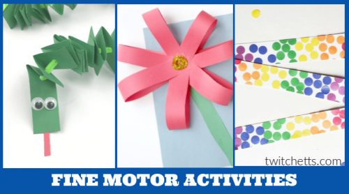 These fine motor activities are perfect for kids of all ages. Whether they are as young as 3 or in kindergarten, kids need to be developing this important skill. These crafts and activities are designed to help strengthen a child's abilities as well as help them feel creative and have fun.