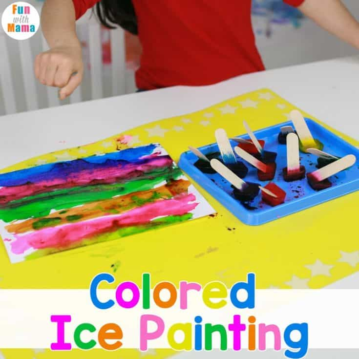 Ice Painting with Colored Ice Cubes
