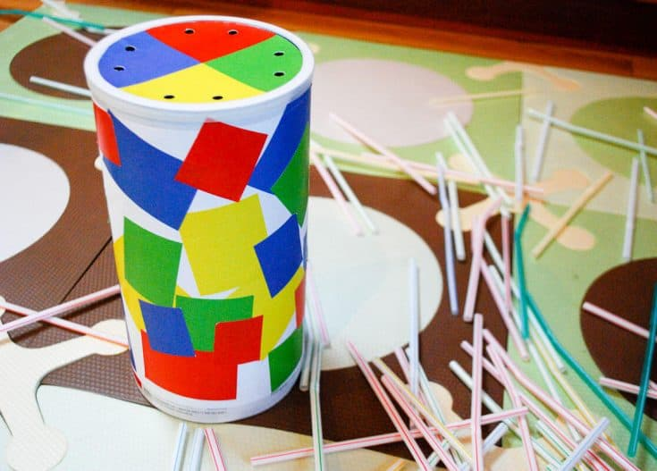 Oatmeal container straw game: fun DIY toddler indoor activity