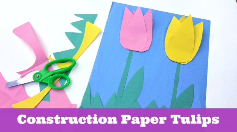 These fun construction paper tulips are the perfect craft for some spring creativity. Even with these basic supplies, you can create a paper craft that pops from the page.