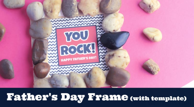 "With Father's Day being right around the corner, it's time to start thinking about homemade gifts that the kids can make! A great and fun option is this simple Father's Day Frame using rocks. What better way to tell dad that ""you rock"" than to make him his very own frame to remind him of this every single day?"