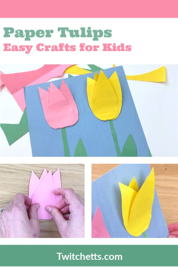 These fun construction paper tulips are the perfect craft for some spring creativity. Even with these basic supplies, you can create a paper craft that pops from the page. #twitchetts #constructionpaper #tulips