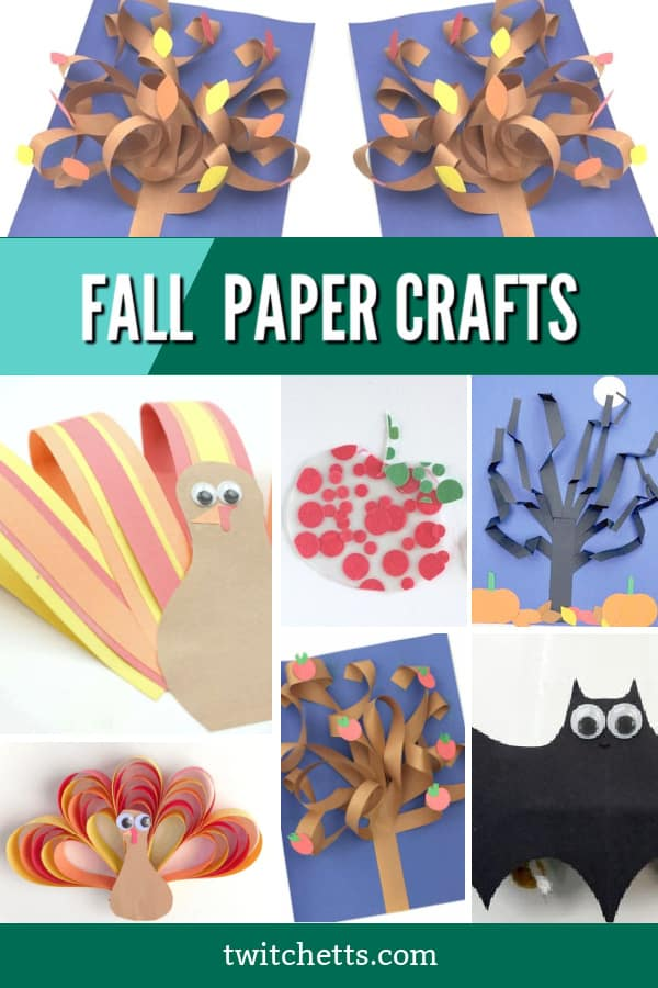 Create these easy fall construction paper crafts with your toddlers or preschoolers. These easy kids' crafts have basic supplies and simple instructions so that you can create them in your classroom or at your kitchen table. #twitchetts #fall #constructionpaper