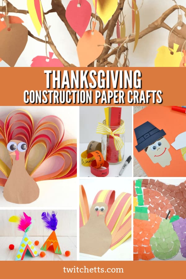 collage of several Thanksgiving construction paper crafts for kids #twitchetts #thanksgiving #constructionpapercrafts