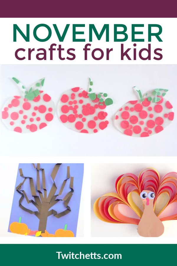 Check out these fun November crafts for kids. #twitchetts #constructionpaper #november #craftsforkids