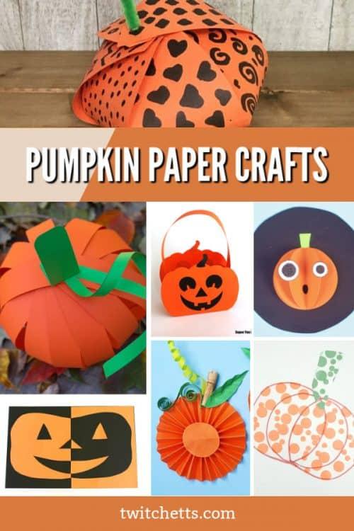 """Images of pumpkin crafts. Text reads """"Pumpkin Paper Crafts"""""""