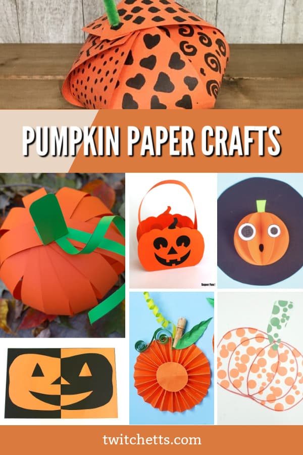 Create these easy pumpkin construction paper crafts with your toddlers or preschoolers. Each of these crafts is perfect for sneaking in fine motor skill building, scissor practice, or just to help learn about following instructions. Grab some orange paper and check out these fun fall crafts! #twitchetts #pumpkins #constructionpaper