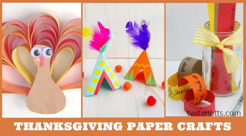 three pictures of Thanksgiving crafts made with construction paper.