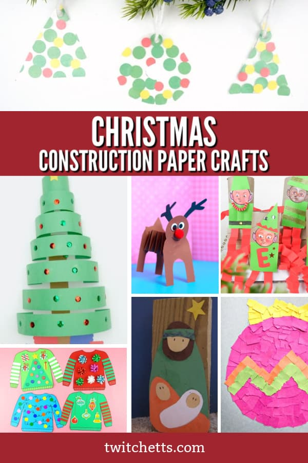 These easy construction paper Christmas crafts for kids are perfect for a classroom activity, holiday party, for kids to make as Christmas gifts, or any other holiday crafting need. #twitchetts #christmas #constructionpaper