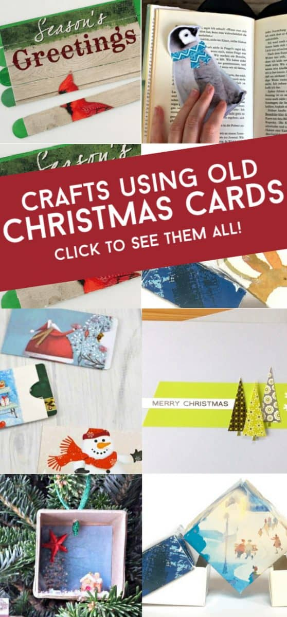 These easy crafts with old Christmas cards are a great way to recycle all the beautiful greeting cards that you receive during the holiday season. From unique Christmas ornaments to fun boredom busters. How will you repurpose your old cards? #twitchetts #recycle #christmascards #craftsforkids