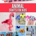 "Several images of pipe cleaner animals. Text reads ""Animal crafts for kids"""