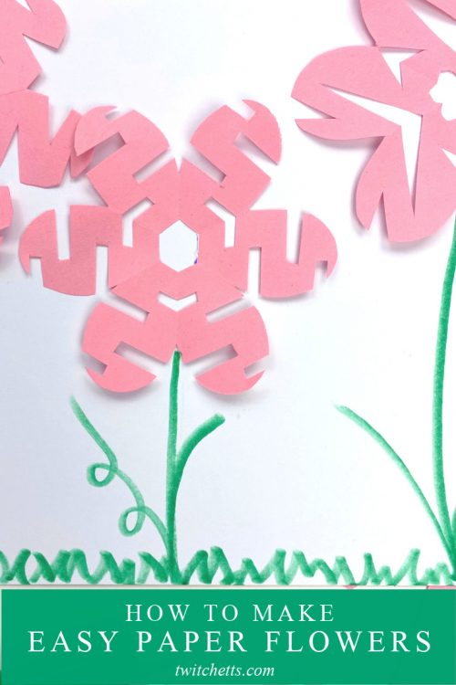 "Flower crafts using the snowflake technique. Text reads ""How to make easy paper flowers"""