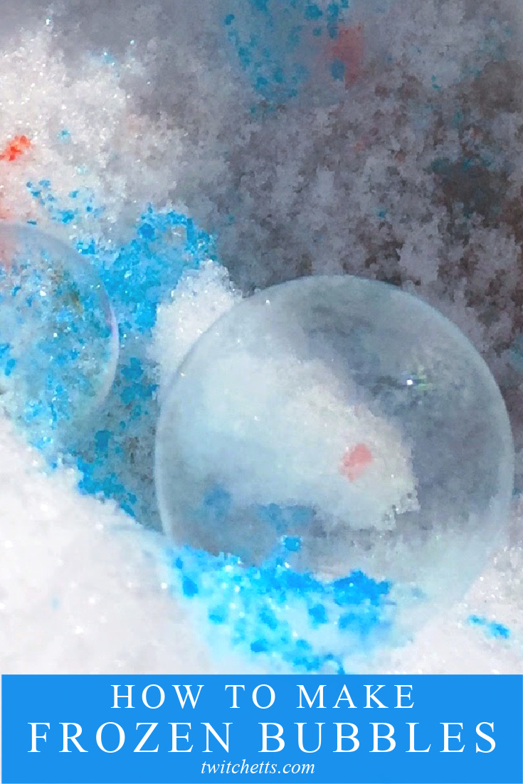 "Image of a frozen bubble with blue color. Text reads ""how to make frozen bubbles"""