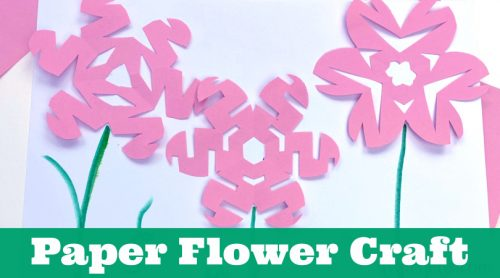 """Flower crafts using the snowflake technique. Text reads """"Paper Flower Craft"""""""