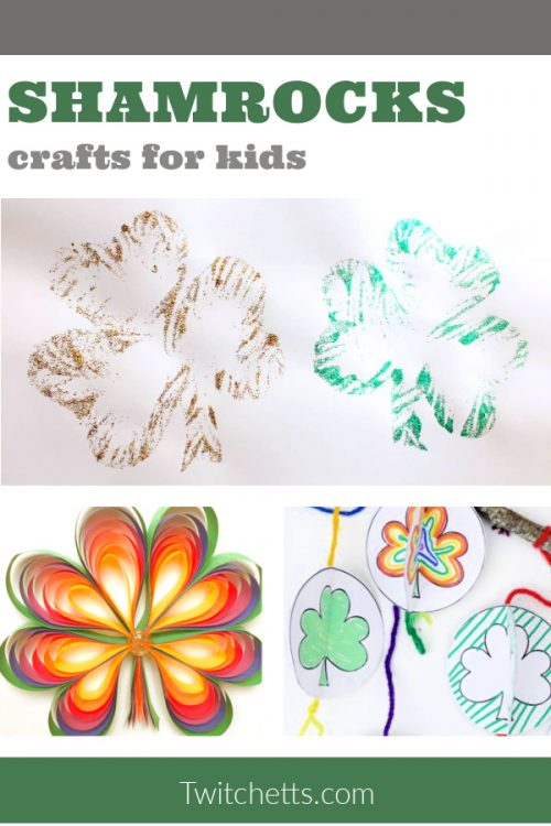 "Images of Shamrock crafts. Text reads ""Shamrocks Crafts for kids"""