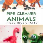"Several images of pipe cleaner animals. Text reads ""Pipe cleaner animals preschool crafts"""