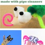 "Several images of pipe cleaner animals. Text reads ""Animals made with pipe cleaners"