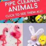 "Several images of pipe cleaner animals. Text reads ""Pipe Cleaner Animals. Click to see them all!"""