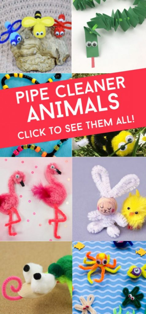 """Several images of pipe cleaner animals. Text reads """"Pipe Cleaner Animals. Click to see them all!"""""""