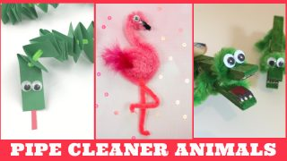 Several images of pipe cleaner animals. Text reads