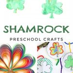 "Images of Shamrock crafts. Text reads ""Shamrock Preschool Crafts"""