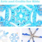 "Three images of snowflake crafts. Text reads ""Snowflake arts and crafts for kids"""