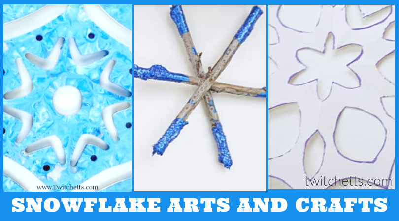 "Three images of snowflake crafts that can be made by kids. Text reads ""Snowflake arts and crafts"""
