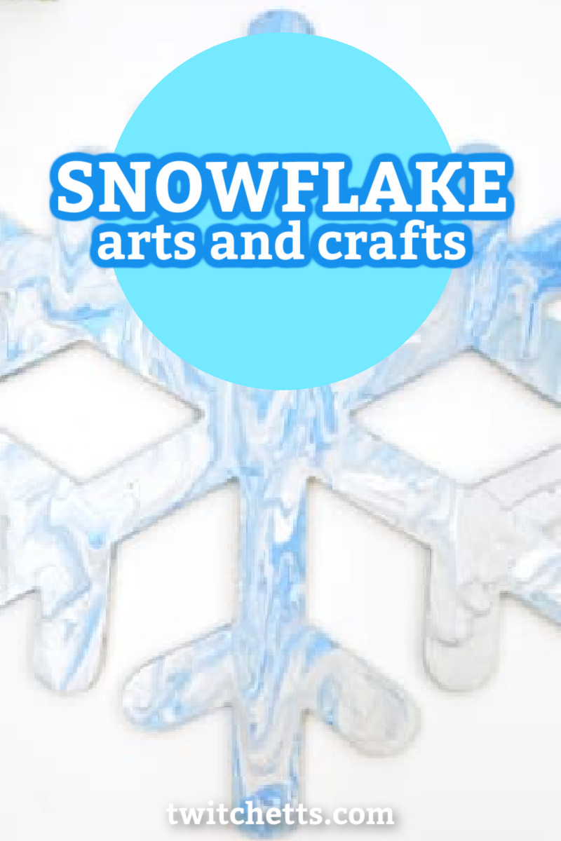 "Snowflake art project. Text reads ""snowflake arts and crafts"""