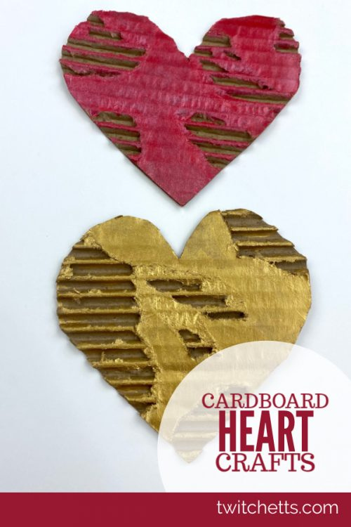 """Completed Heart Art Project-Text reads """"Cardboard Heart Crafts"""""""