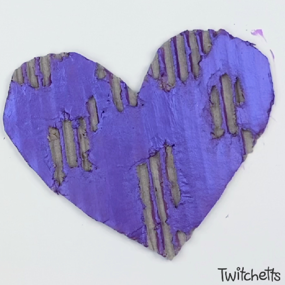Painted Cardboard Heart Art Project for kids