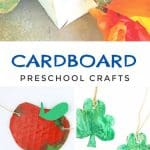 "Images of cardboard crafts. Text reads ""Cardboard preschool crafts"""