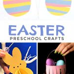 """Images of Easter crafts made with construction paper. Text reads """"Easter Preschool Crafts"""""""