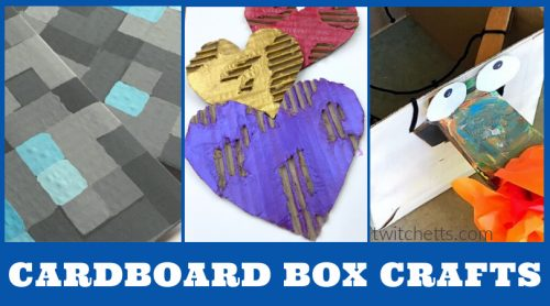 """Images of cardboard crafts. Text reads """"Cardboard Box crafts"""""""