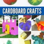 """Images of cardboard crafts. Text reads """"Cardboard crafts"""""""