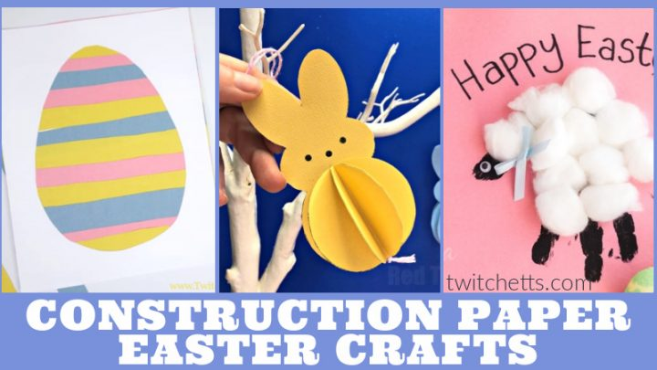 Images of Easter crafts made with construction paper. Text reads