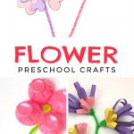 "Images of flowers made with pipe cleaners. Text reads ""Flower preschool crafts"""