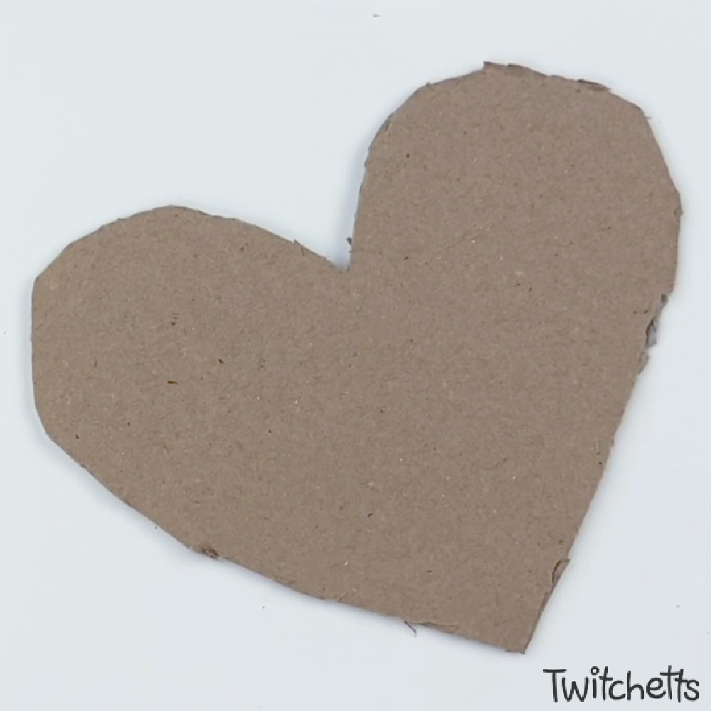 In process image for cardboard heart art project-1