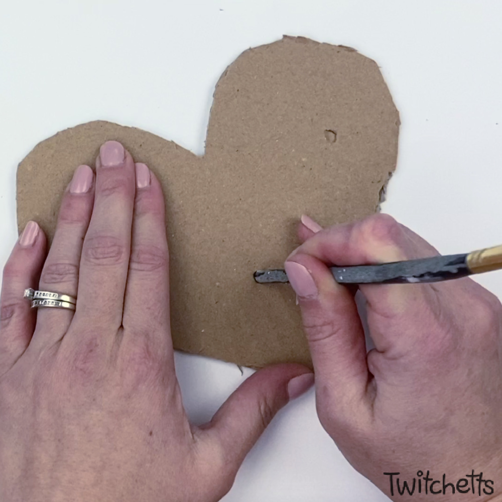 In process image for cardboard heart art project-2