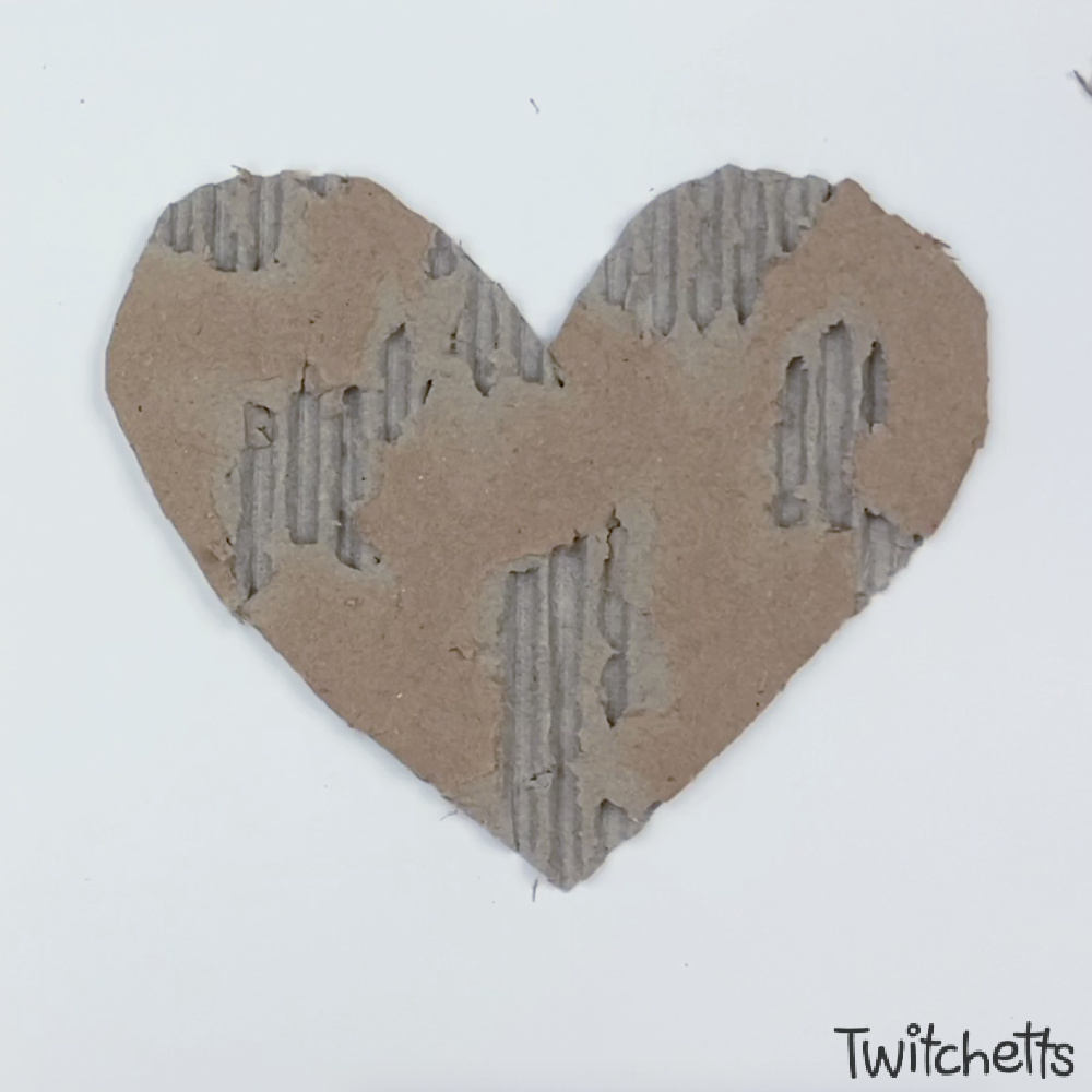 In process image for cardboard heart art project-5
