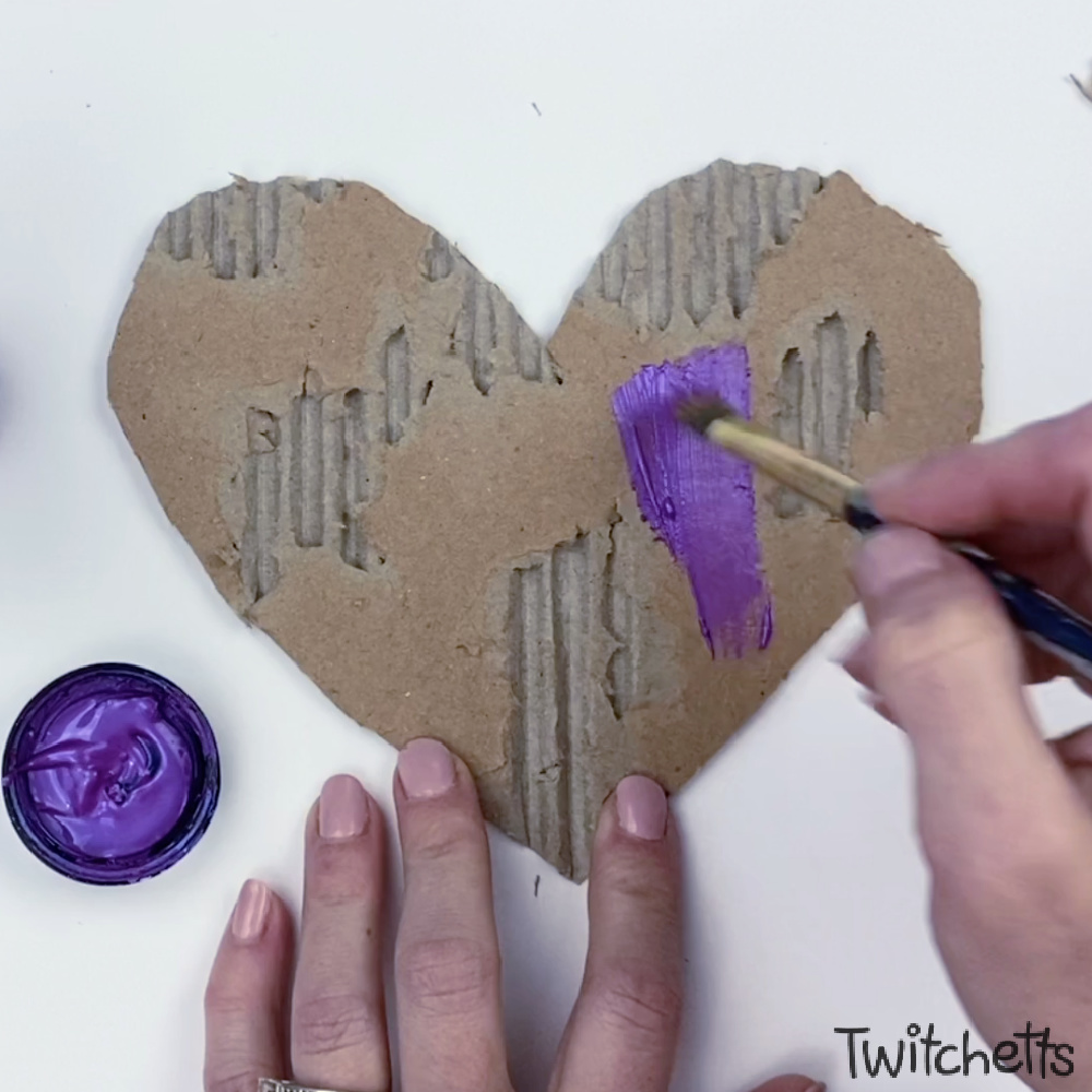 In process image for cardboard heart art project-6