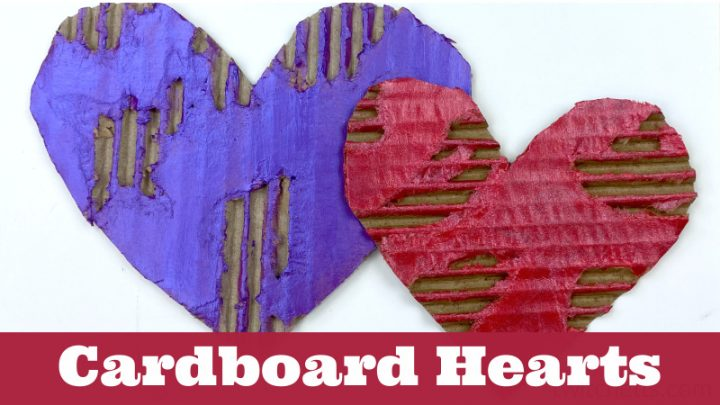 two completed painted cardboard hearts