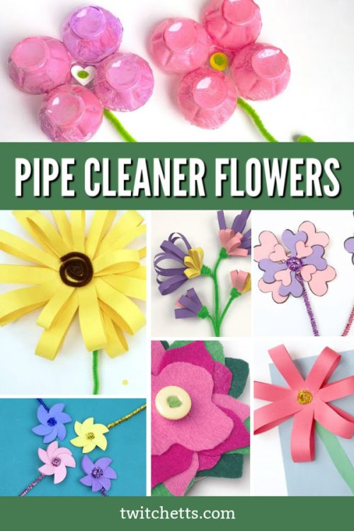 "Images of flowers made with pipe cleaners. Text reads ""Pipe cleaner flowers"""