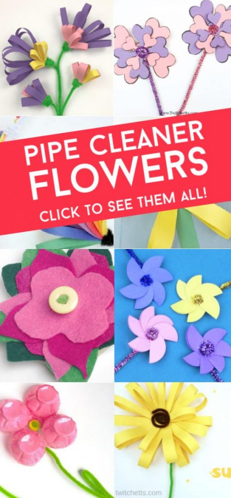 "Images of flowers made with pipe cleaners. Text reads ""Pipe cleaner flowers. Click to see them all"""