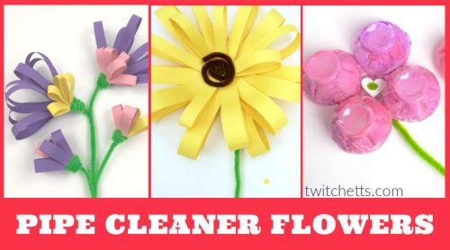 """Images of flowers made with pipe cleaners. Text reads """"Pipe Cleaner Flowers"""""""