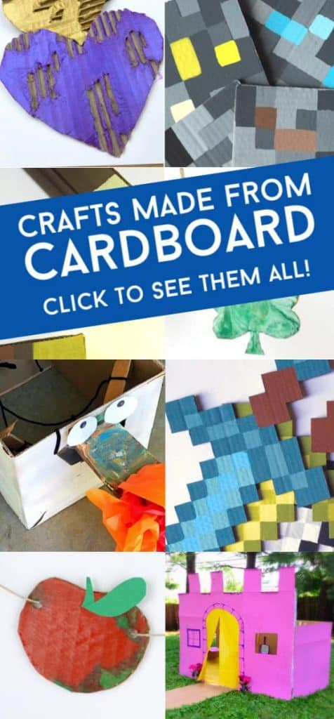 """Images of cardboard crafts. Text reads """"Crafts made from cardboard. Click to see them all"""""""
