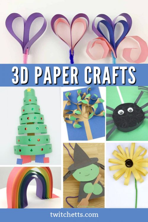 """Images of 3d paper crafts. Text reads """"3d paper crafts"""""""